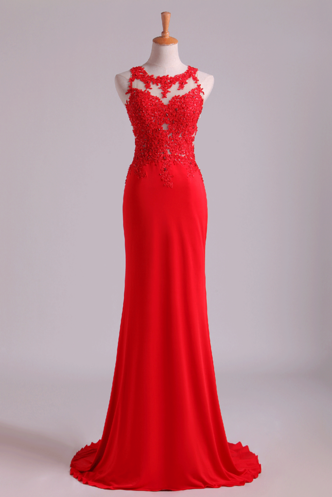 2019 Popular Scoop Column Prom Dresses With Beading And Applique