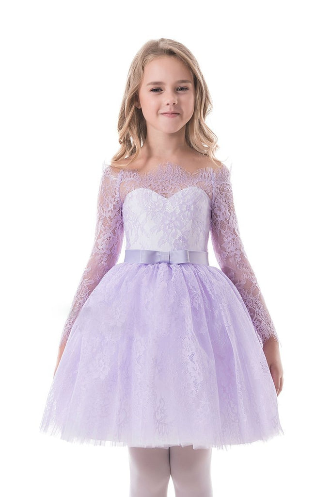2020 Flower Girl Dresses A Line Boat Neck Long Sleeves Lace