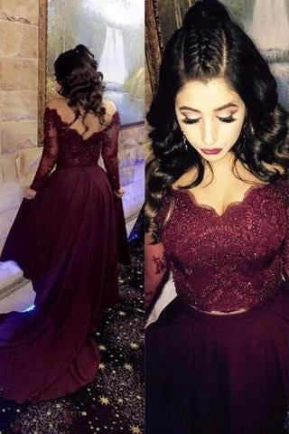 Two Pieces Lace Burgundy Assymetrical Long Dress Evening Dresses Prom Dresses SME702