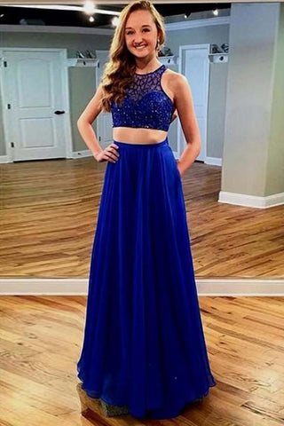 Sparkly 2 Pieces Royal Blue Beading Zipper Back Long Prom Dresses With