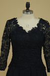 V Neck Mid-Length Sleeves Mother Of The Bride Dresses Chiffon & Lace A Line