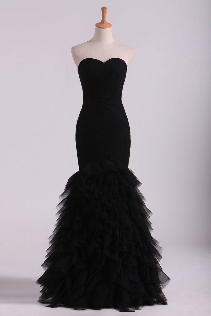 2019 Black Sweetheart Ruffled Bodice Evening Dresses Tulle Floor Length Mermaid