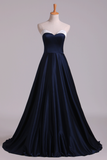 2019 Bicolor Prom Dresses Sweetheart A Line Satin Court Train