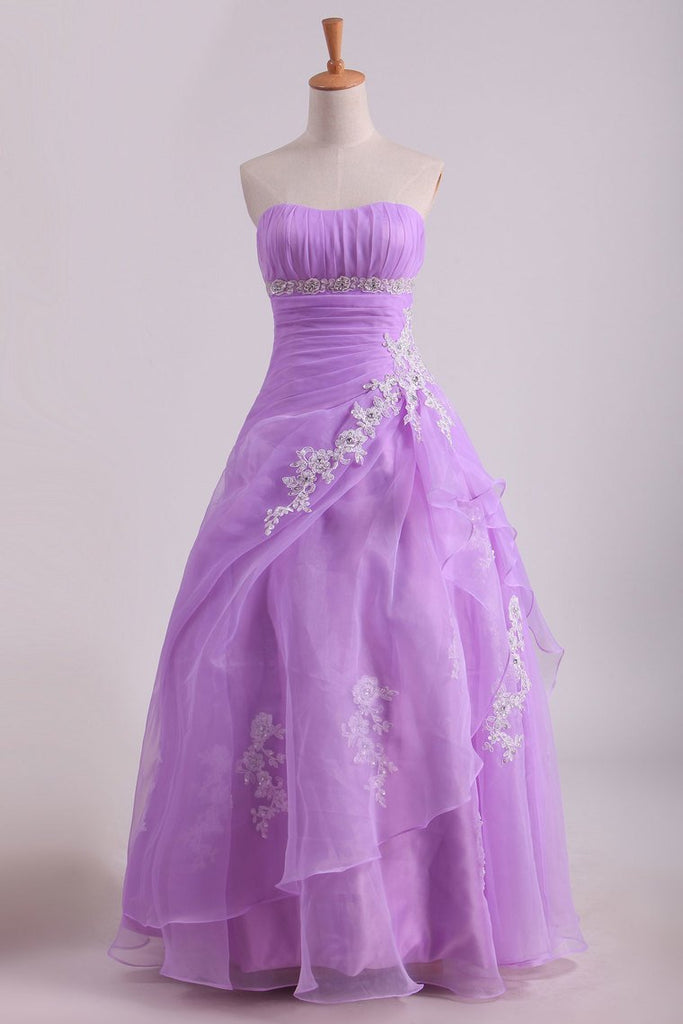 Strapless Floor Length Quinceanera Dresses With Applique And