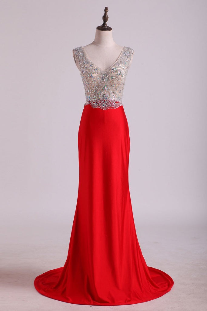 2019 V Neck Beaded Bodice Open Back Prom Dresses Column Spandex Sweep