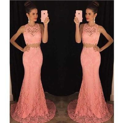 Two Piece Lace Mermaid Peach Long Sexy Sleeveless Prom Dresses JS962