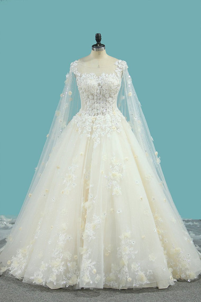 2019 Tulle A Line Scoop Wedding Dresses With Beading Chapel Train