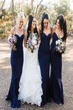 Sexy Mermaid Satin Navy Blue Sweetheart Sleeveless Long Bridesmaid Dresses