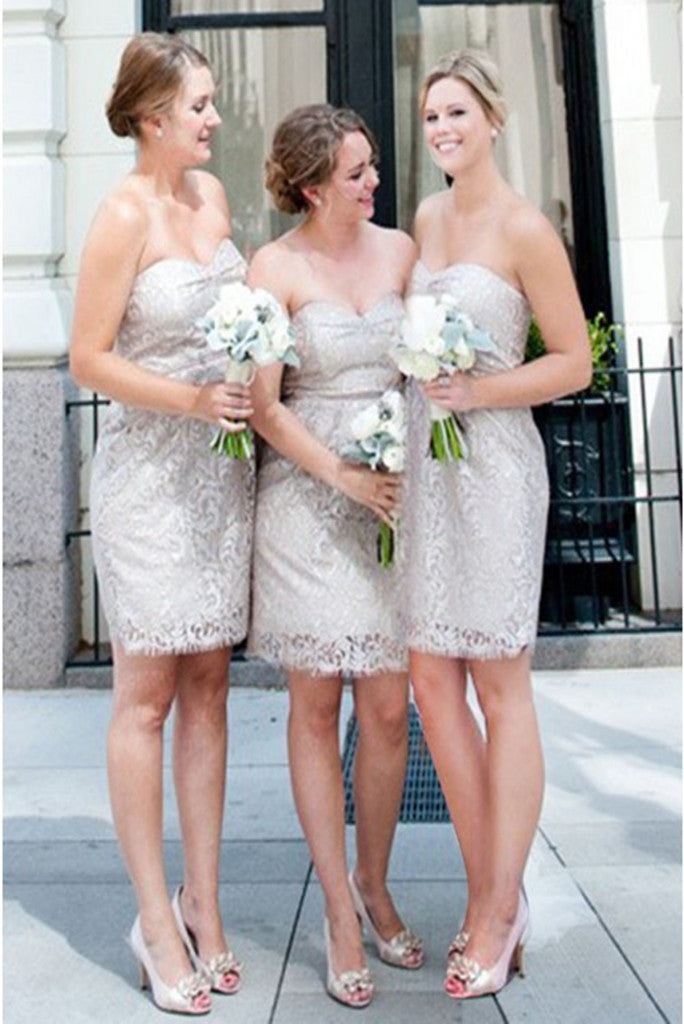 Sheath Lace Sweetheart Above Knee Light Grey Bridesmaid Dress
