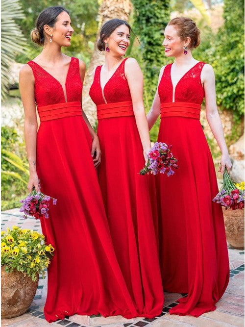A Line Chiffon Red V Neck Backless Floor Length Bridesmaid Dress With Lace