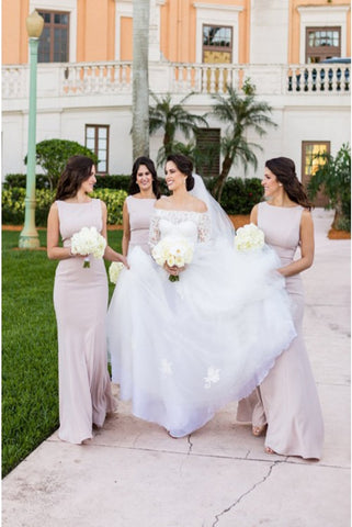Simple Mermaid Elastic Satin Sweep Train Blush Bridesmaid Dresses