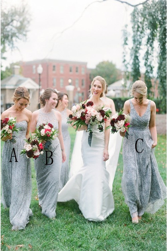 Hot Sale A Line Grey Lace Sweetheart Floor Length Bridesmaid Dresses