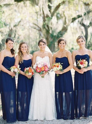 Sheath Sweetheart Floor Length Dark Blue Bridesmaid Dresses