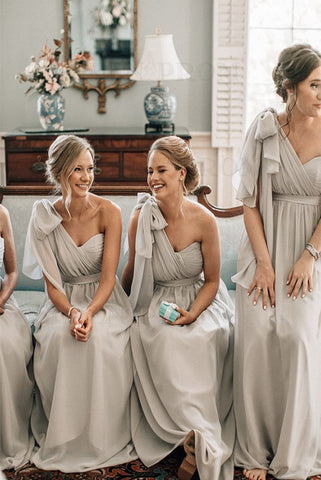 A Line Chiffon One Shoulder Floor Length with Sash Light Grey Bridesmaid Dresses
