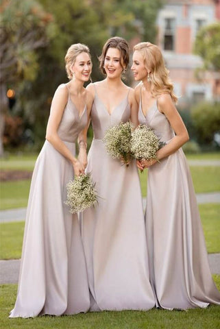 A Line Satin Champagne V Neck Sleeveless Criss Cross Straps Floor Length Bridesmaid Dresses