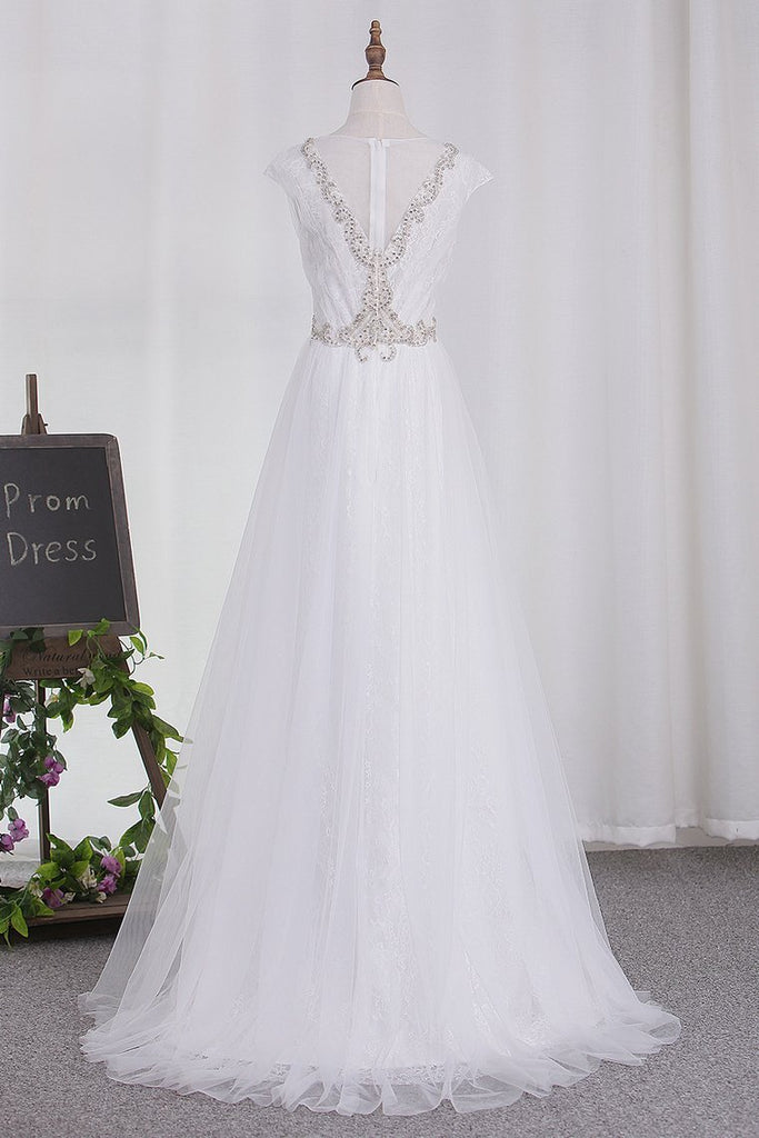 Wedding Dresses Tulle Scoop A Line With Applique And Beads Sweep