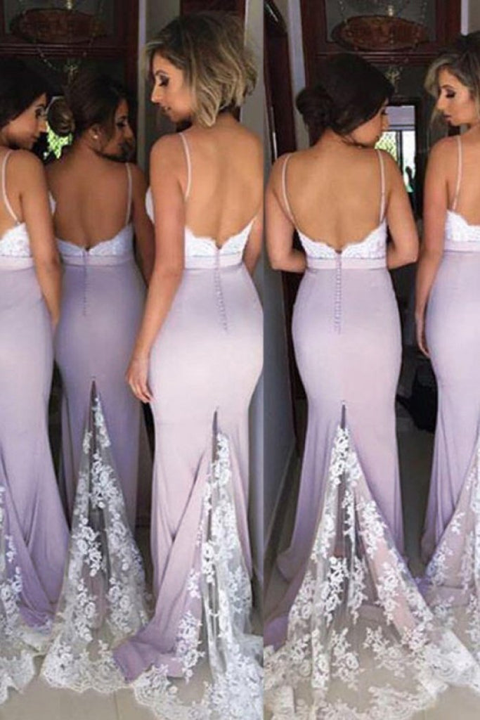 Lace Mermaid Backless Unique Sweetheart Spaghetti Straps Cheap Bridesmaid Dresses JS43