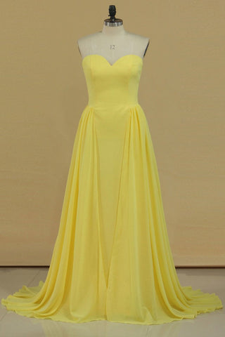 2019 New Arrival Chiffon Bridesmaid Dresses Sweetheart Sweep Train A Line