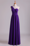 2021 Evening Dress One Shoulder Pleated Bodice Lace Back A Line Full Length Chiffon