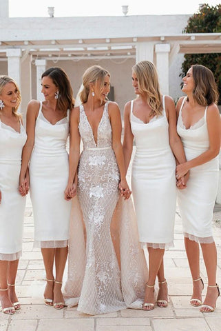 Mermaid Spaghetti Straps Sleeveless Backless Split White With Lace Short Bridesmaid Dresses