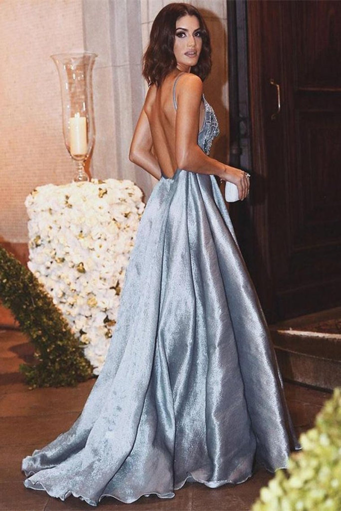Charming Elegant Spaghetti Straps Light Blue Beading Long Prom Dresses Evening