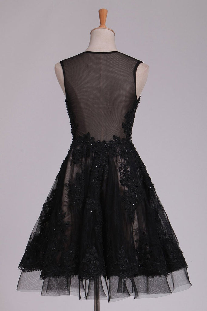 2020 Homecoming Dresses A Line Scoop Black Lace With Beads & Applique