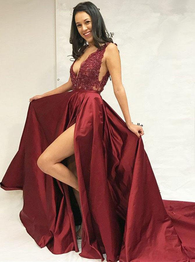 Simple A-Line Deep V-Neck Sweep Train Split Burgundy Satin Lace Prom Dresses UK JS329