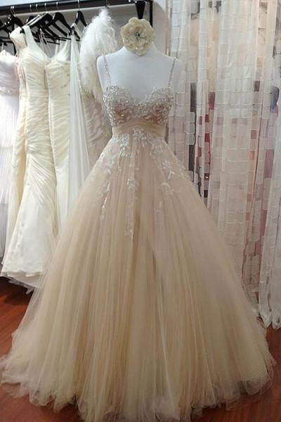 Ivory tulle lace sequins A-line dress with straps wedding dresses