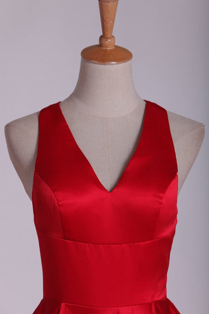 Red V Neck Evening Dresses A Line Sweep Train With Slit &