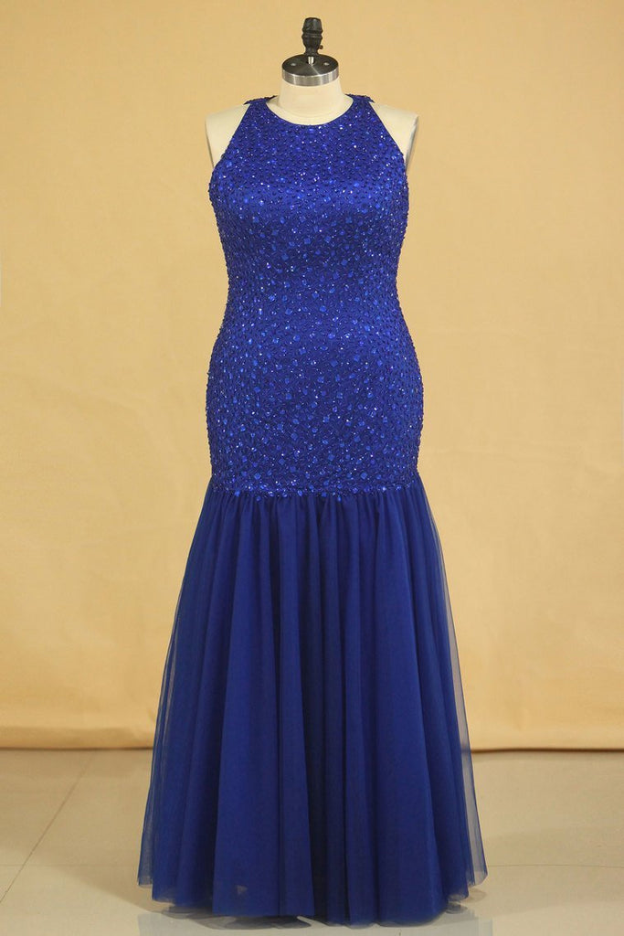 2021 Floor Length Prom Dresses Scoop Beaded Bodice Mermaid Tulle Dark Royal Blue