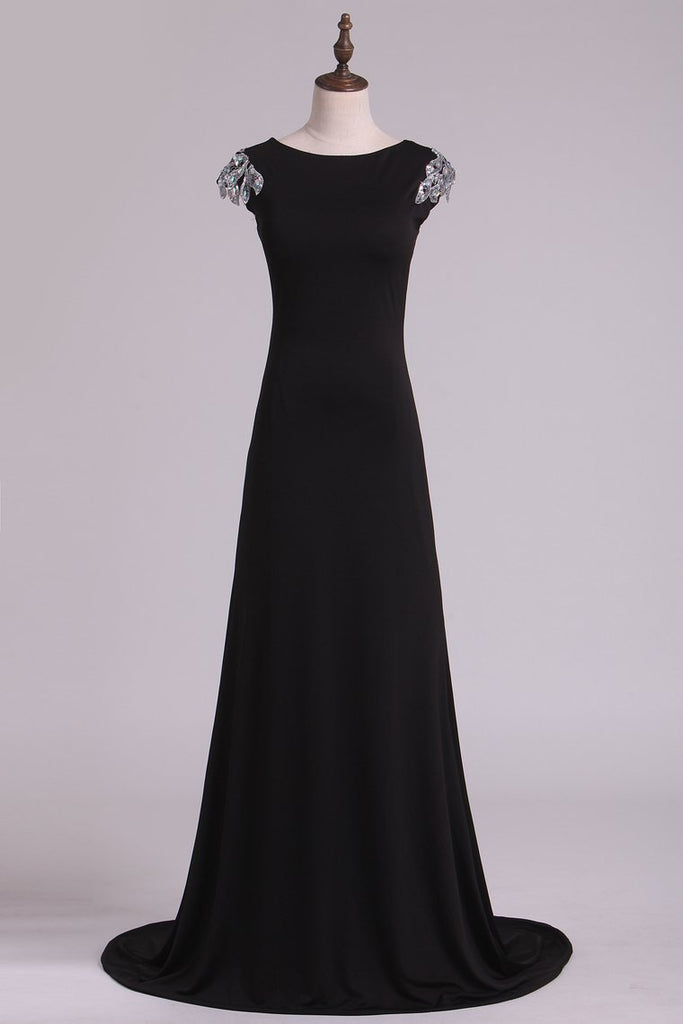 2021 Evening Dresses Bateau Mermaid Spandex With Beads Open Back
