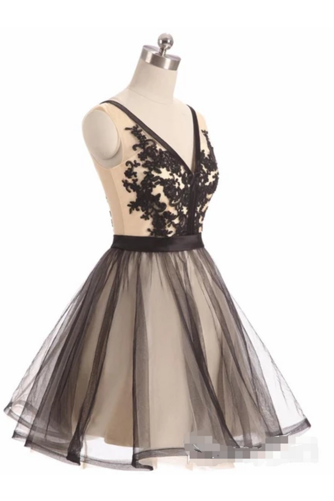 See Through Black Lace Short Dresses A Line V Neck Vintage Homecoming