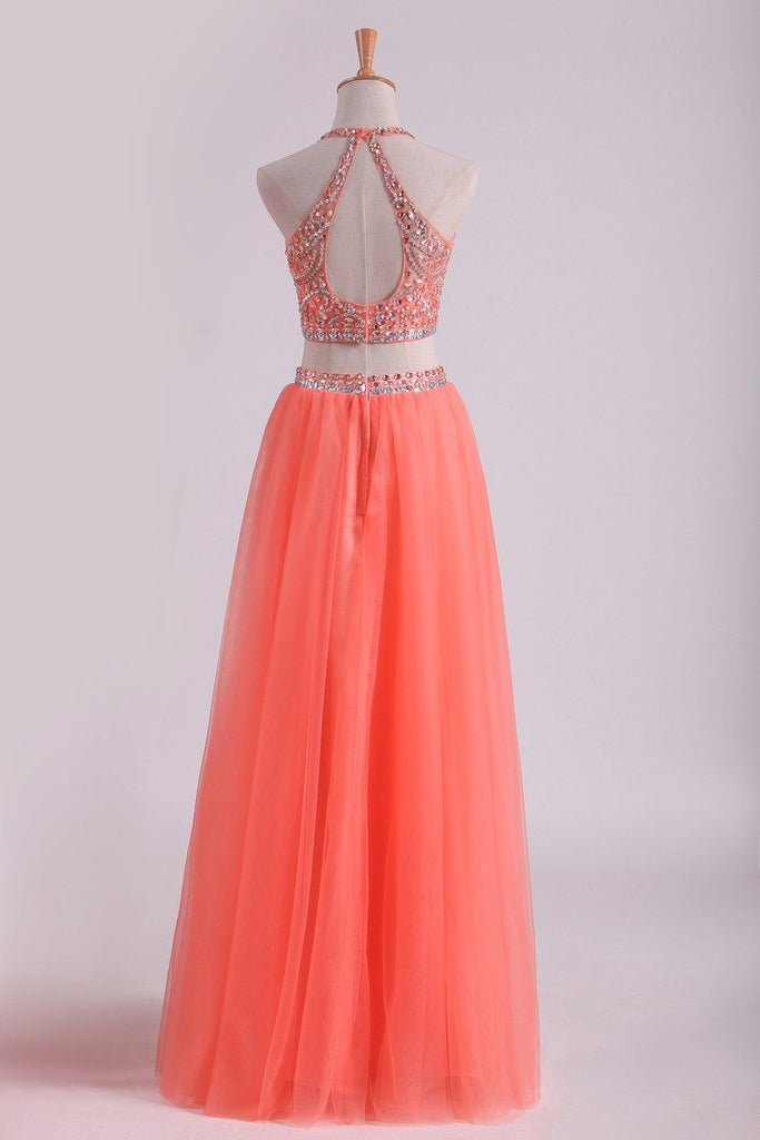 2019 Two-Piece Halter A Line Prom Dresses Beaded Bodice Tulle Floor