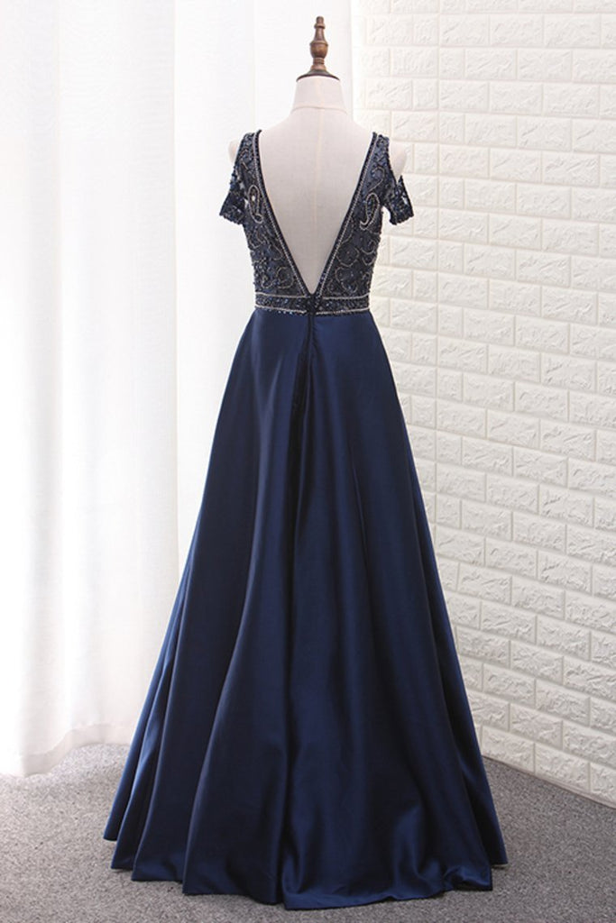 2021 A Line Satin V Neck Beaded Bodice Prom Dress Open Back Floor