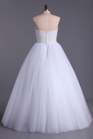 Sweetheart Ball Gown Wedding Dresses Tulle Floor Length With