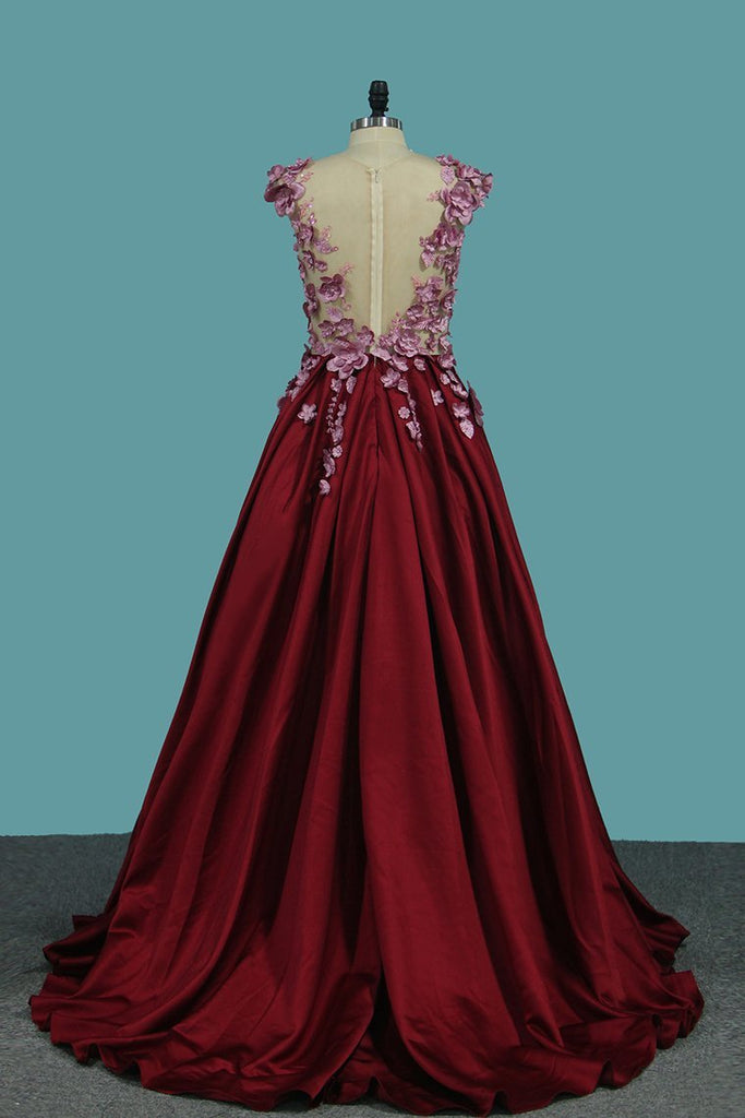 Satin Scoop A Line Prom Dresses With Applique And Handmade Flower