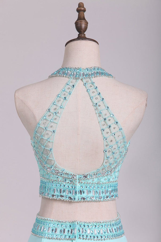 Two-Piece Halter Beaded Bodice Open Back Prom Dresses Spandex