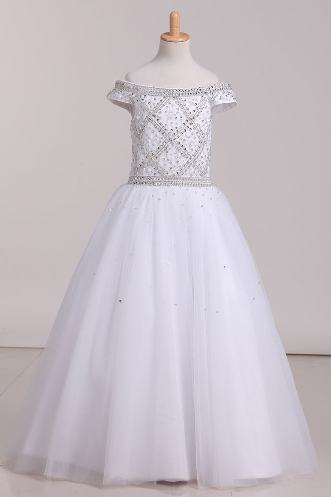 2021 Floor Length Boat Neck Beaded Bodice Flower Girl Dresses Tulle Lace Up