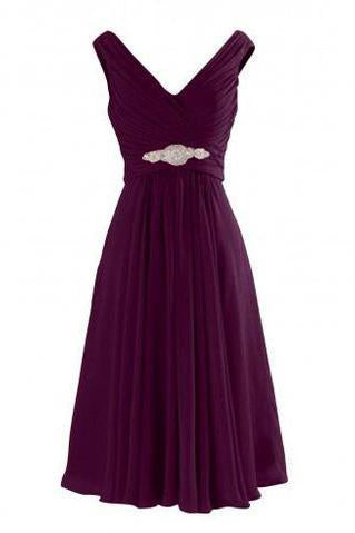 Simple-dress V Neck A-Line Knee Length Chiffon Bridesmaid Dresses SME477
