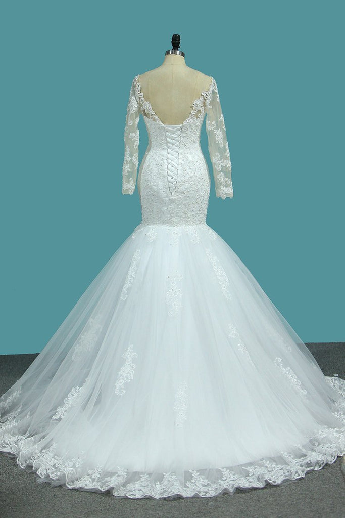 2020 Mermaid Tulle Long Sleeves Off The Shoulder Wedding Dresses With
