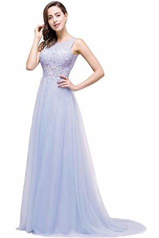 Lace Tulle Sleeveless Evening Dress Ball Gown Wedding Bridesmaid Backless Long