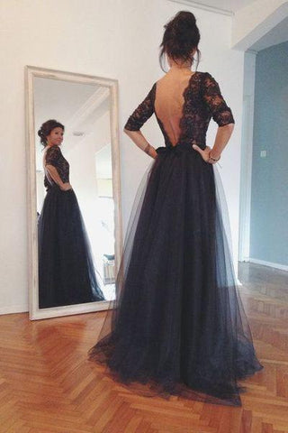 long prom dress black Prom Dress backless prom dress Charming prom dress evening SME12633