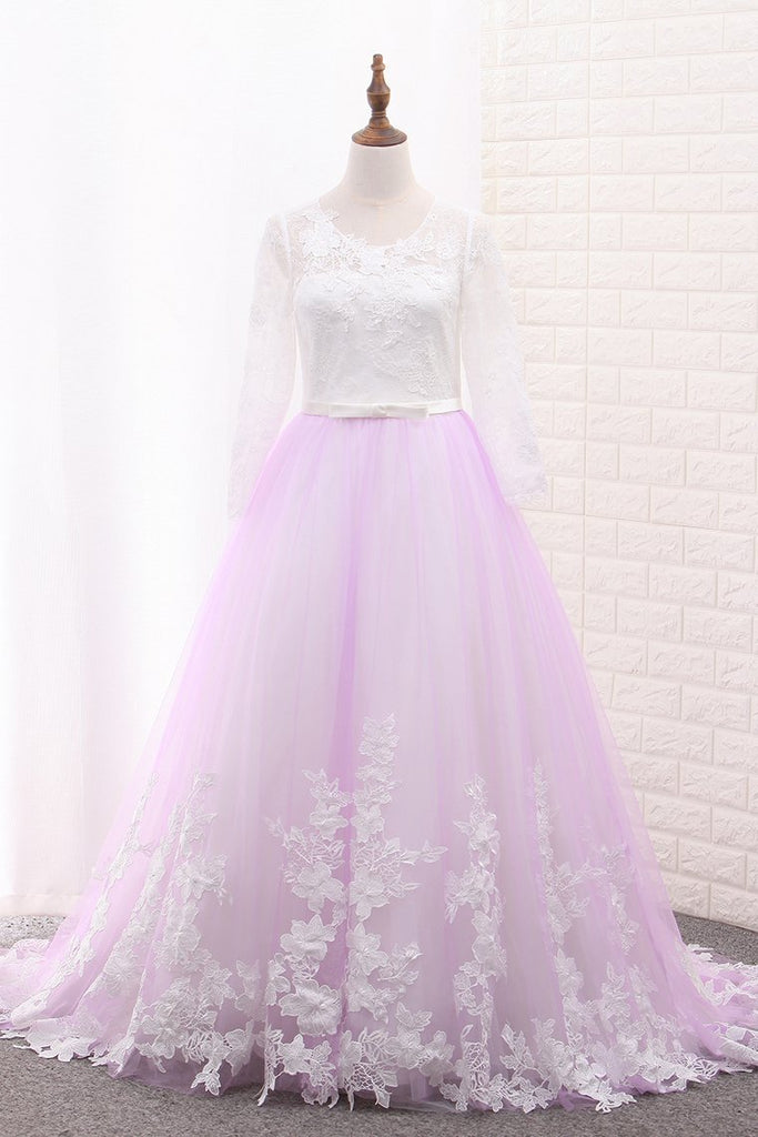 2020 A Line Long Sleeves Tulle Scoop Flower Girl Dresses With Applique And