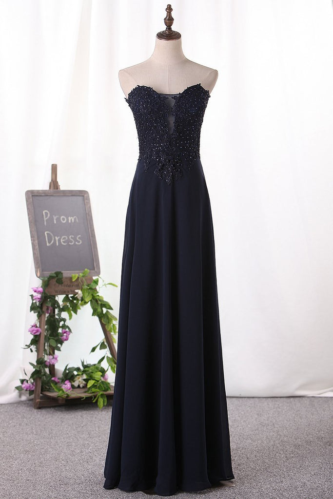 2020 A Line Prom Dresses Chiffon Sweetheart With Applique Floor