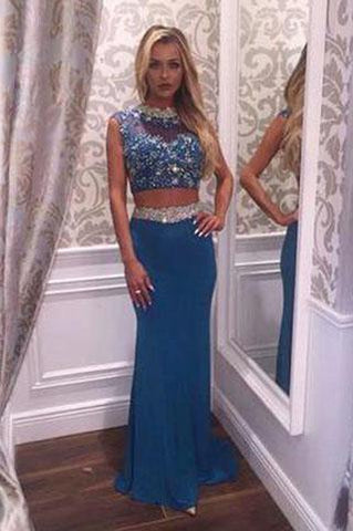 Two Pieces Beading Charming Open Back Blue High Neck Mermaid Long Prom Dresses uk L47