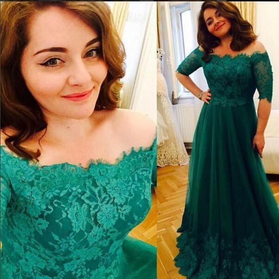 Princess Green Lace Short Sleeve A Line Tulle Vintage Plus Size Evening Formal Dresses JS689