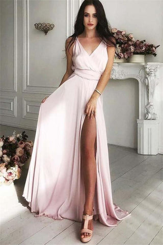 V-Neck Front Split Long Simple Cheap Elegant Pink Prom Dresses Party