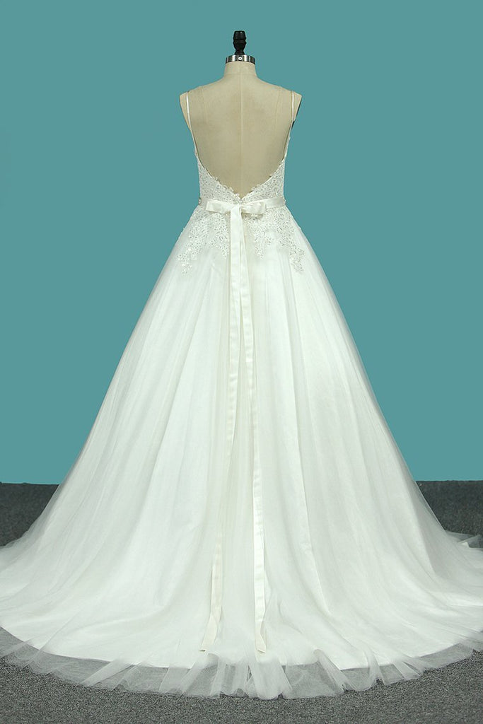 Spaghetti Straps Tulle Wedding Dresses With Applique And Sash Court Train