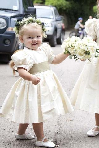 Vintage Juliet Sleeves Tea Length Round Neck Satin Flower Girl Dresses, Little Dresses SME15606