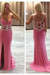 Sexy Mermaid Beaded See Through Long V-Neck Pink Custom Prom Dresses JS958